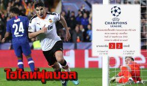 ไฮไลท์ฟุตบอล ยูฟ่า แชมป์เปี้ยนส์ ลีก บาเลนเซีย 2-2 เชลซี